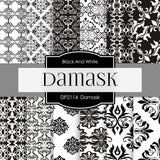 Black & White Damask Digital Paper DP2115 - Digital Paper Shop - 1