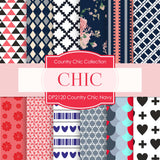 Country Chic Navy Digital Paper DP2120 - Digital Paper Shop - 1