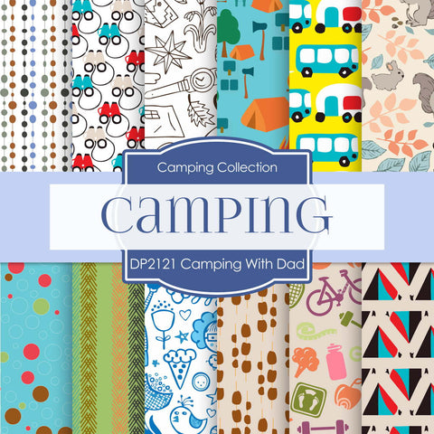 Camping With Dad Digital Paper DP2121 - Digital Paper Shop - 1