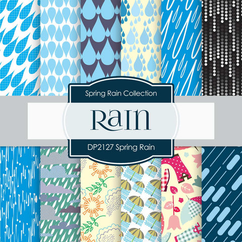 Spring Rain Digital Paper DP2127 - Digital Paper Shop - 1