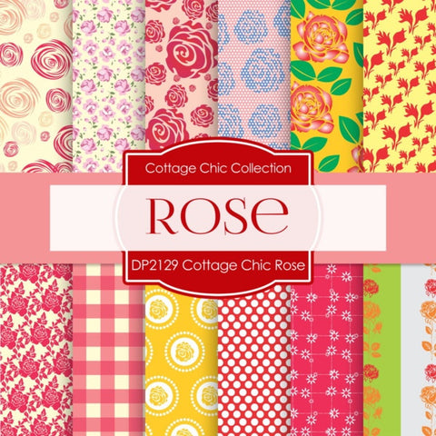 Cottage Chic Rose Digital Paper DP2129 - Digital Paper Shop - 1
