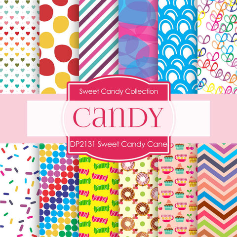 Sweet Candy Cane Digital Paper DP2131 - Digital Paper Shop - 1