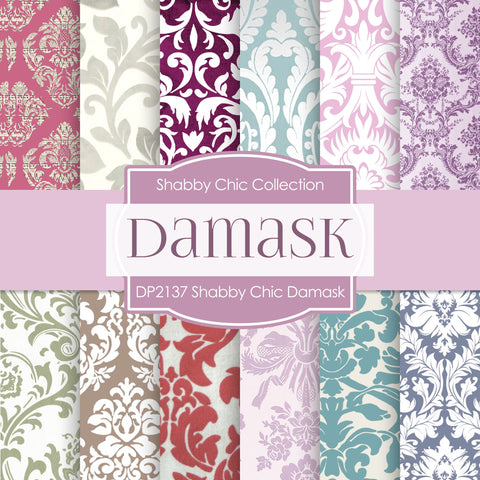 Shabby Chic Damask Digital Paper DP2137 - Digital Paper Shop - 1