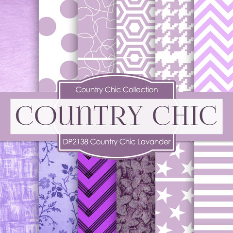 Country Chick Lavender Digital Paper DP2138 - Digital Paper Shop - 1