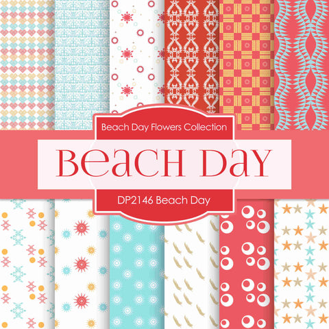 Beach Day Digital Paper DP2146 - Digital Paper Shop - 1
