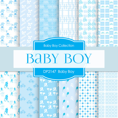 Baby Boy Digital Paper DP2147 - Digital Paper Shop - 1