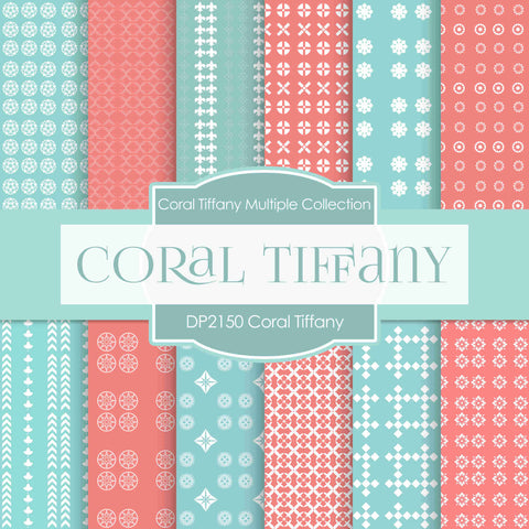 Coral Tiffany Digital Paper DP2150 - Digital Paper Shop - 1