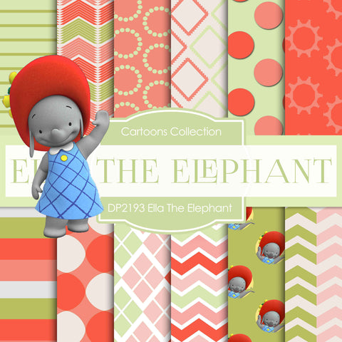 Ella The Elephant Digital Paper DP2193 - Digital Paper Shop - 1