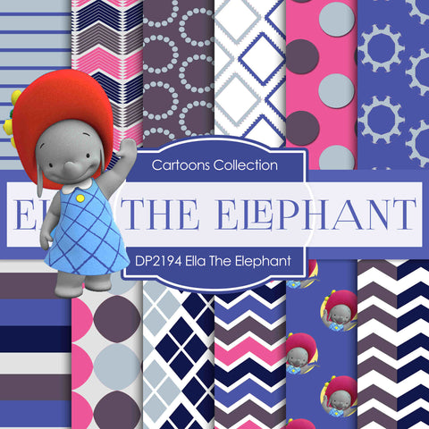 Ella The Elephant Digital Paper DP2194 - Digital Paper Shop - 1