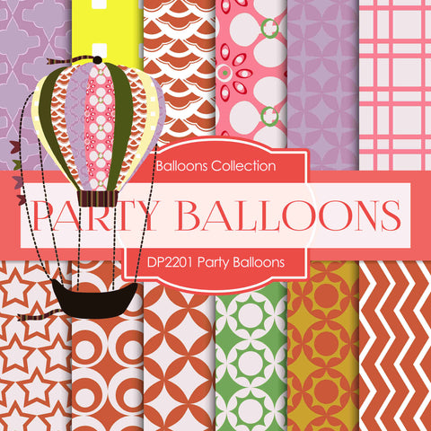 Party Balloons Digital Paper DP2201 - Digital Paper Shop - 1