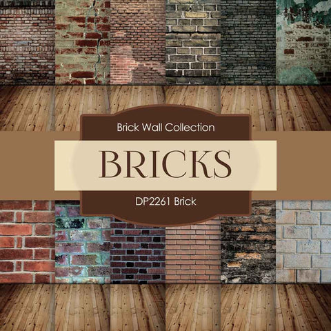 Brick Backgrounds Digital Paper DP2261A - Digital Paper Shop - 1