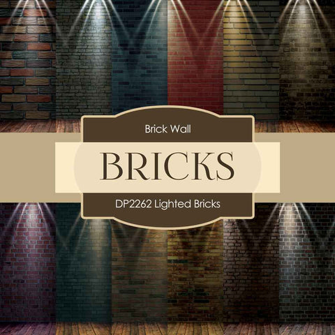Lighted Bricks Digital Paper DP2262 - Digital Paper Shop - 1