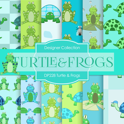 Turtle and Frogs Digital Paper DP228 - Digital Paper Shop - 1