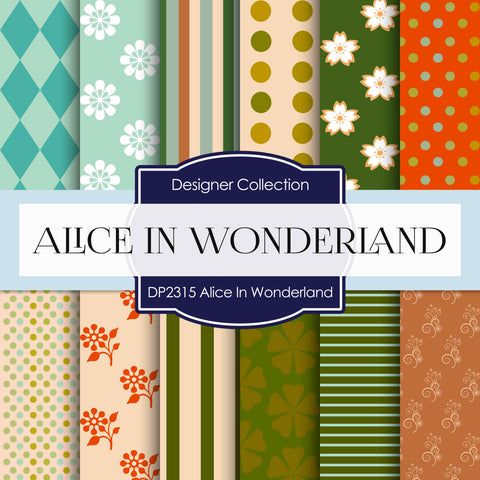 Alice In Wonderland Digital Paper DP2315 - Digital Paper Shop - 1