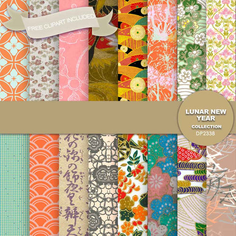 Lunar New Year Digital Paper DP2338 - Digital Paper Shop - 1