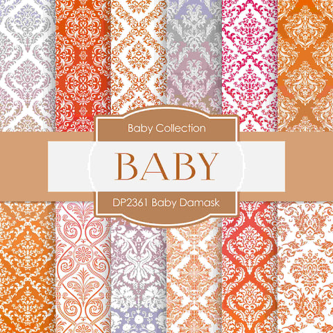 Baby Damask Digital Paper DP2361 - Digital Paper Shop - 1