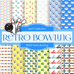 Retro Bowling Digital Paper DP237 - Digital Paper Shop - 1