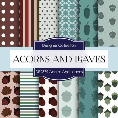 Acorns And Leaves Digital Paper DP2379 - Digital Paper Shop - 1