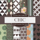 Country Chick Navy Digital Paper DP2399 - Digital Paper Shop - 1