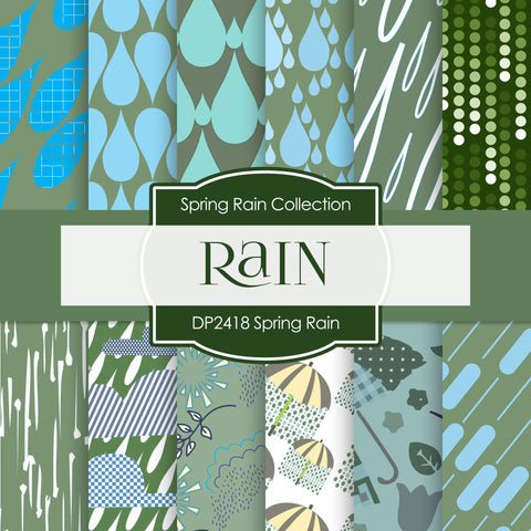 Spring Rain Digital Paper DP2418 - Digital Paper Shop - 1
