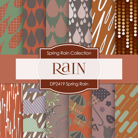 Spring Rain Digital Paper DP2419 - Digital Paper Shop - 1