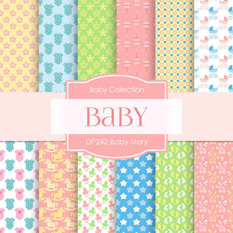 Baby Story Digital Paper DP242 - Digital Paper Shop - 1