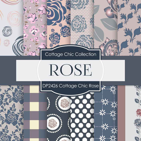 Cottage Chic Rose Digital Paper DP2426 - Digital Paper Shop - 1
