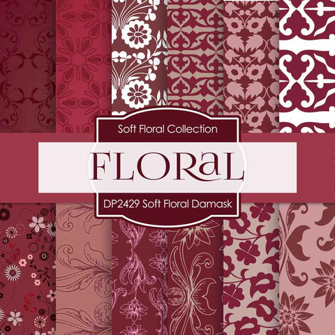 Soft Floral Damask Digital Paper DP2429 - Digital Paper Shop - 1