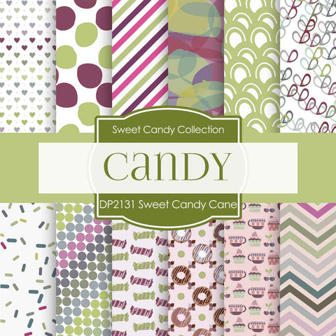 Sweet Candy Cane Digital Paper DP2431 - Digital Paper Shop