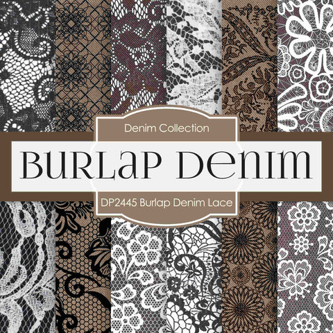 Burlap Denim Lace Digital Paper DP2445 - Digital Paper Shop - 1