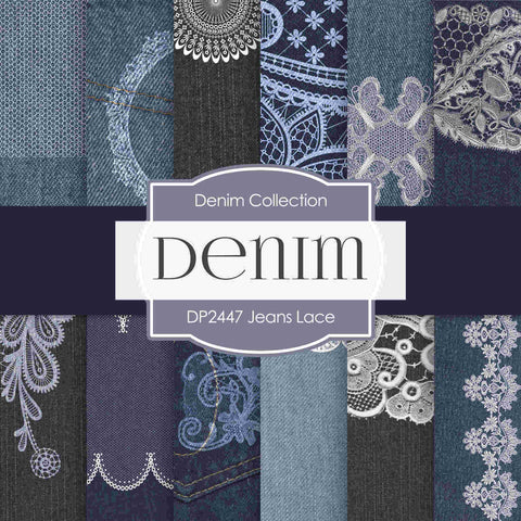 Jeans Lace Digital Paper DP2447 - Digital Paper Shop - 1