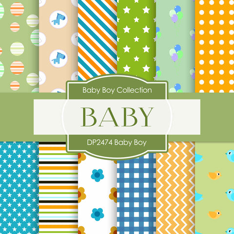 Baby Boy Digital Paper DP2474 - Digital Paper Shop - 1