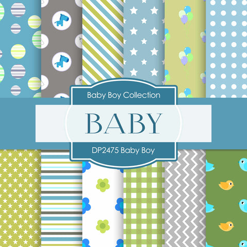 Baby Boy Digital Paper DP2475 - Digital Paper Shop - 1