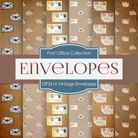 Vintage Envelopes Digital Paper DP2616 - Digital Paper Shop - 1