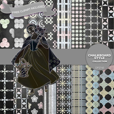 Chalkboard Style Digital Paper DP2743 - Digital Paper Shop - 1