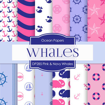Pink and Navy Whales Digital Paper DP285 - Digital Paper Shop - 1