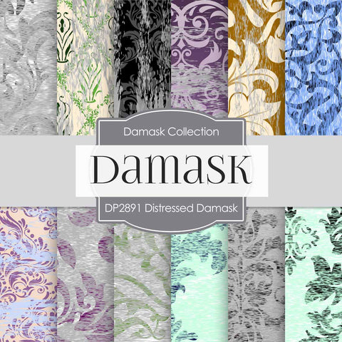 Distressed Damask Digital Paper DP2891 - Digital Paper Shop - 1