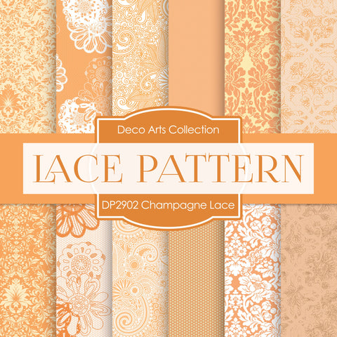 Champagne Lace Digital Paper DP2902 - Digital Paper Shop - 1