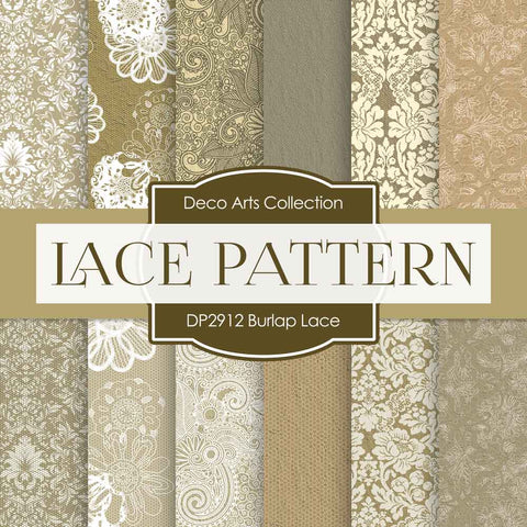 Burlap Lace Digital Paper DP2912 - Digital Paper Shop - 1