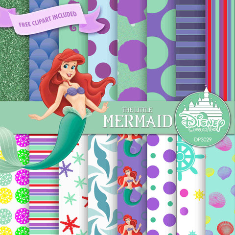 The Little Mermaid Digital Paper DP3029 - Digital Paper Shop - 1