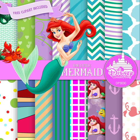 The Little Mermaid Digital Paper DP3030 - Digital Paper Shop - 1