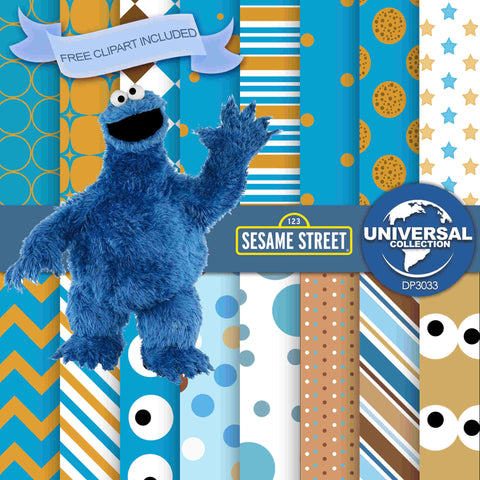 Cookie Monster Digital Paper DP3033 - Digital Paper Shop - 1