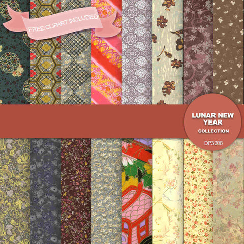 Lunar New Year Digital Paper DP3208 - Digital Paper Shop - 1