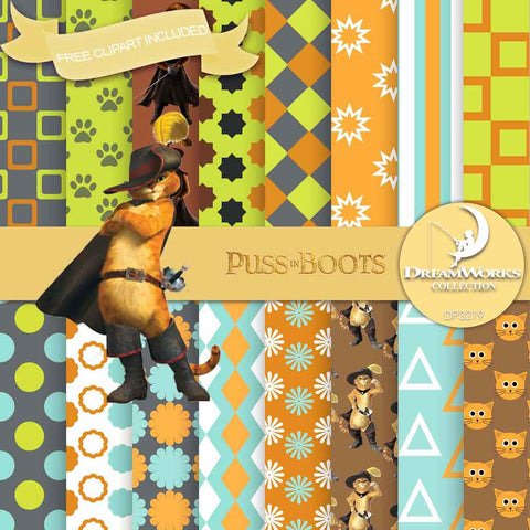 Puss In Boots Digital Paper DP3219 - Digital Paper Shop - 1