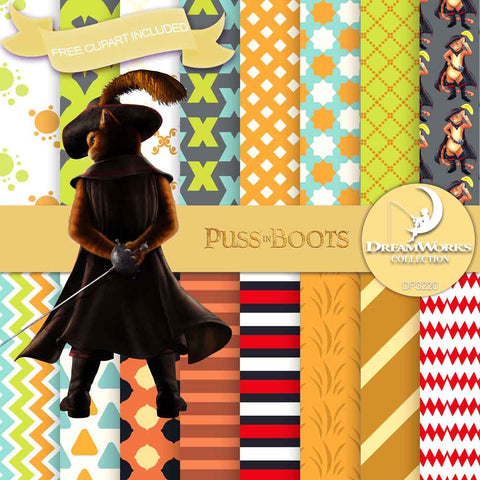 Puss In Boots Digital Paper DP3220 - Digital Paper Shop - 1