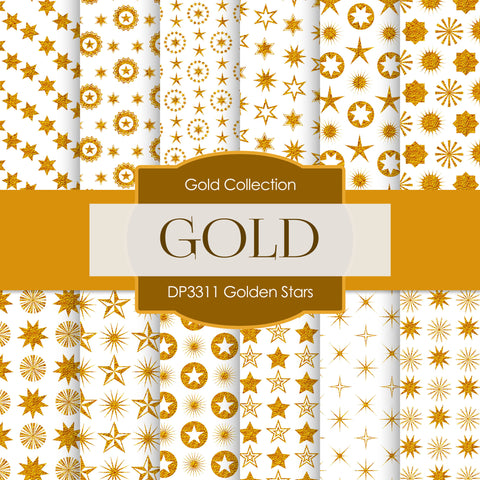 Golden Stars Digital Paper DP3311