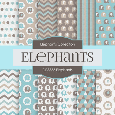 Elephants Party Digital Paper DP3333