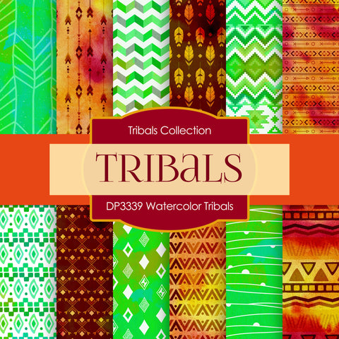 Watercolor Tribals Digital Paper DP3339