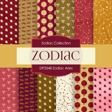 Zodiac Aries Digital Paper DP3348