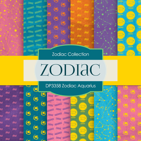 Zodiac Aquarius Digital Paper DP3358